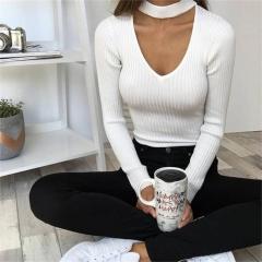 New Women V Neck Long Sleeve Bodycon Bandage Bodysuit Jumpsuit Slim Short Romper white s