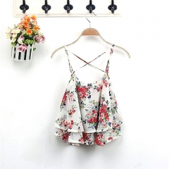 Fashion Women Summer Floral Chiffon Vest Top Sleeveless Casual Tank Blouse Tops T-Shirt off white one size