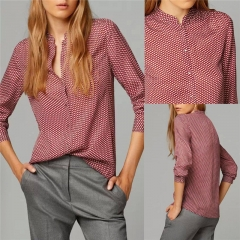 Fashion Women's Ladies Summer Loose Tops Long Sleeve Shirt Blouse Casual Blouse dark red s