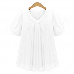 Fashion Womens V-neck Plus Size Tops Loose Short Sleeve T-Shirt Casual Blouse white xl