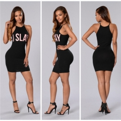 Summer Women Sleeveless Bandage Bodycon Casual Party Evening Cocktail Mini Dress black s