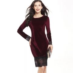2017 New Sexy Lace Floral Stitching Swan Long Sleeve Dress Velvet Fashion Hip Pencil Skirt wine red s