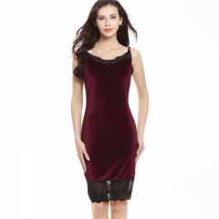 2017 Summer Sleeveless Velvet Dresses Casual Female Clothing Sexy Evening Party Midi Dresses wine red s