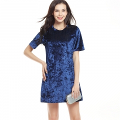 Summer Party Dress Fashion  Loose Mini Dress Crew Neck Short Sleeve Polyester Casual Dress royal blue s