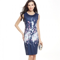 New Summer Style Bodycon Dresses Vintage Ladies Sexy Fitness Floral Print Sleeveless Crew Neck Dress navy blue s