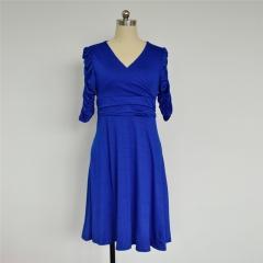 2017 Deep V Collar Women Polyester Summer Pretty elegant Pleated Short Sleeve Knee Length Dress royal blue s