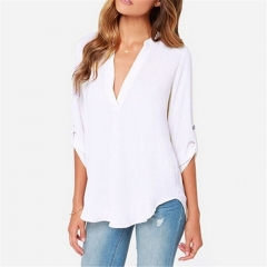 2017 Sexy Women V Neck Solid Chiffon Blouse Ladies Summer Short Sleeve Slim T Shirt white s