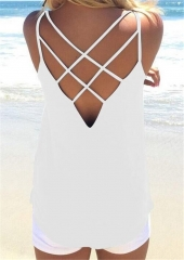 Hot Selling Women Sexy Hollow Out Vest Spaghetti Strap Camisole Tank Top Tops Bouse T Shirt white s