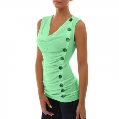 Women Slim Single-breasted Basic Sleeveless T-shirt Autumn Pure Color Cotton Tee Tops green s