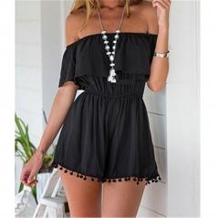 Summer Style Women Romper Off The Shoulder Elastic Waist Ruffles Playsuit Jumpsuit black s