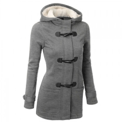Women's Fashion Jacket Double-breasted Wool Casual Coat Hoodies Autumn Winter Girl Warm gray s