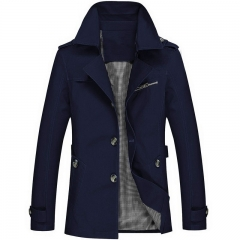 Men's Cotton Washed Jacket Increase Code Medium and Long Man Slim Leisure Time Loose Coat dark blue m