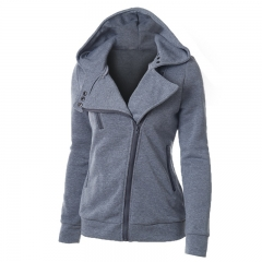 Ladies Hooded Jacket Long Sleeve Women Hoodies Sweatshirts Zipper Blazer Fashion Jacket light grey s