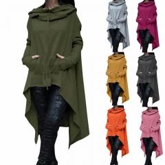 Women's Fashion Coat Long Sleeve Loose Casual Poncho Coat Hooded Pullover Long Hoodies Sweatshirts dark grey l