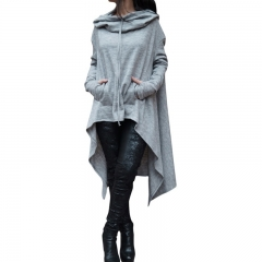 Women's Fashion Coat Long Sleeve Loose Casual Poncho Coat Hooded Pullover Long Hoodies Sweatshirts grey s