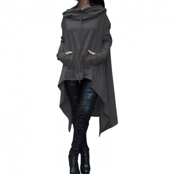 Women's Fashion Coat Long Sleeve Loose Casual Poncho Coat Hooded Pullover Long Hoodies Sweatshirts dark grey s