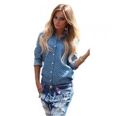 Fashion Autumn Women Long Sleeve Tops Shirt Turn Down Collar Button Split Backless Blouse Shirt blue s