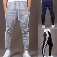 Pop Dynamic Men Casual Sports Skinny Pants Vertical Strip Pants Jogging Slacks grey m
