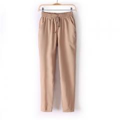 Women Casual Chffion Harem Pants Comfy Elastic Waist Full Length Trousers Gift khaki s