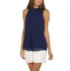 New Women Casual Chiffon Blouse Sleeveless Shirt T-shirt Summer Blouse Tops navy blue s
