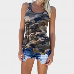 Top Sale Women Fashion Casual Army Camo Camouflage Tank Top Sleeveless O-neck Slim Shirt army green s