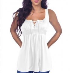 Women Summer Blouse V Neck Sleeveless Crochet Lace Up Shirt Casual Sexy Beach Blouse white s