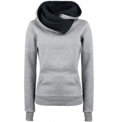 Fashion Personality Lapel Women Hoodies Hooded Pullovers Sweatershirt Solid Warm Fleece Hoodies Coat light grey s