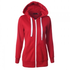 Women Hoodies Solid Color High Quality Common Style Thin Waist Hooded Coat Long Sweatshirt red s