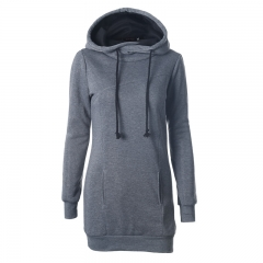 Winter Hoodies Fashion Pockets Design Hoodies Long Sweatershirt Female Women Pullover Solid Hoodies grey s