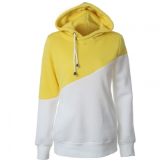 Women leisure Jumper Long Sleeve Splicing Hit Color Top Hoodies Sweatshirts Hooded Outerwear yellow s
