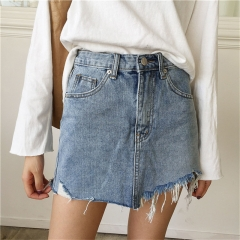 Women High Waist Jupe Irregular Edges Denim Skirts Female Mini Washed Faldas Casual Pencil Skirt jeans blue s