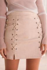 Autumn lace up leather suede pencil skirt Winter cross high waist Zipper split bodycon skirts womens nude pink s