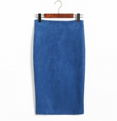 2017 Women Suede Midi Pencil Skirts Causal High Waist Sexy Stretch Ladies Office Work Wear blue m