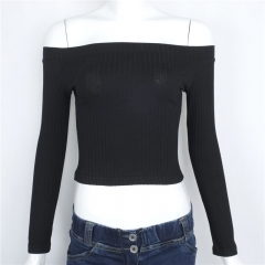 Autumn Slim Long Sleeves Sexy Party Strapless Shoulder Solid Color T-shirt Simple Elegant Tops black s