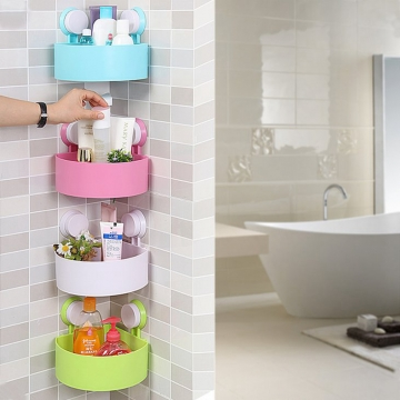 Bathroom Corner Shelf Rack Organizer Shower Storage Cup Wall Basket With 2 Suction Random