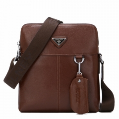 Leather men's  vertical section of leather shoulder bag diagonal package new men bag Messenger brown 23*6*26CM