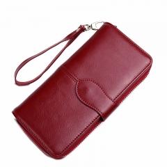 Simple retro fashion leather long wallet wallet handbag red 19*3*10CM