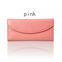 Female wallet long section ultra-thin envelope leather wallet full leather wallet ladies wallet pink 19*1.5*9.5cm