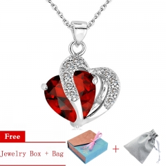 Women's Jewelry 925 Sterling Silver Plated Pendant Necklace Setting with Cubic Zirconia Red One Size
