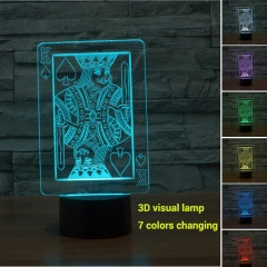 Colorful Changing Night Light Touch Switch 3D LED Lamp (Poker K) multi-color not specied 0.5w
