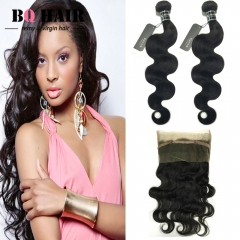 "BQ HAIR 8A 360 Lace Frontal with 2 Bundles 100% Unprocessed Brazilian Body Wave Human hair (10""~28"") nature black 14 16 +12"