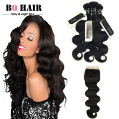 BQ HAIR 8A Body Wave Free/Middle/Three Part Brazilian Swiss Lace Closure with 3 Bundles Remy Hair nature black 12 14 16 +10