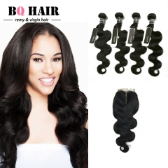 BQ HAIR Grade 8A Human Hair Lace Closure with 4 Bundles Body Wave Brazilian Remy Hair nature black 12 14 16 18 +10