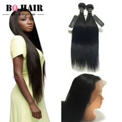 """BQ Hair Factory Price 8A 360 Lace Frontal with 2 Bundles Straight Virgin Human Hair (10""""~22"""") nature black 10 10 +10"""