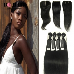 BQ HAIR Grade 8A Brazilian Hair Lace Closure with 4 Bundles Straight 100% Unrpocessed Human Hair nature black 12 14 16 18 +10