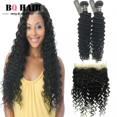 BQ HAIR 8A 100% Unprocessed Virgin Hair Deep Wave Style Human Hair 2 Pieces and 360 Lace Frontal natural black 10 10 +10