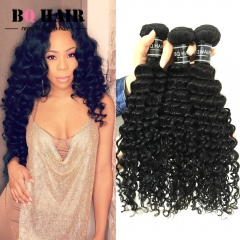 "BQ HAIR Grade 8A Brazilian Deep Wave 3 Bundles Human Hair weaves 100g/pc Virgin Remy Hair (10""~28"") nature black 10 10 10"