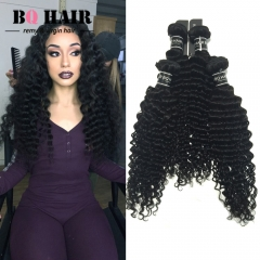 "BQ HAIR 8A 4 Bundles Deep Wave Full Head Peruvian Virgin Hair Weave Extension 100G/Bundle (10""~28"") natural black 10 10 10 10"
