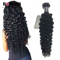 "BQ HAIR 8A 100% Human Hair Brazilian Deep Wave Virgin Human Hair 1pc/100g (10""~28"") nature black 14 inch"