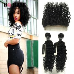 BQ HAIR 8A 2 Bundles/200g Unprocessed Peruvian Human Hair Weave Deep Curly and 360 Lace Frontal natural black 10 10 +10